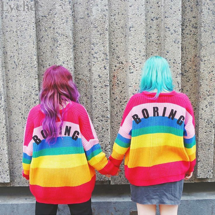 Lichi Primavera Mujeres del Otoño Suéter de La Raya Del Arco Iris Aburrido Carta Bordado de Manga Larga Chaqueta de Punto