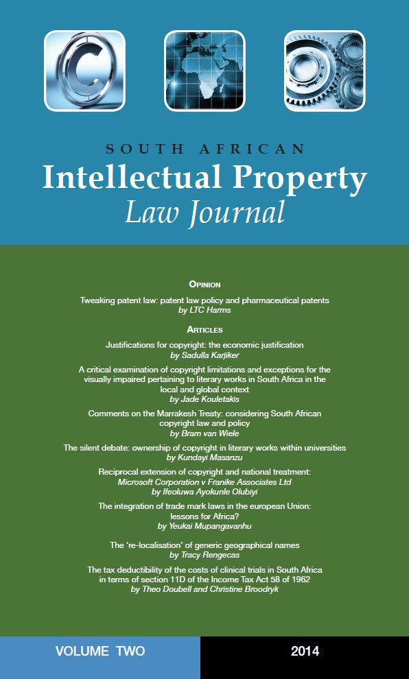The South African Intellectual Property Law Journal (IPLJ) strives to be the journal of choice for academics, practitioners and students of IP law. The IPLJ  includes articles on recent developments in legislation, policy and case law to keep IP practitioners at the forefront of the law.  Published by Juta Law