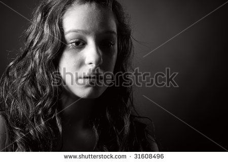 Powerful Black and White Shot of a Tearful Teenager