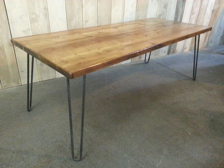 Vintage hair pin style table with reclaimed pine top.