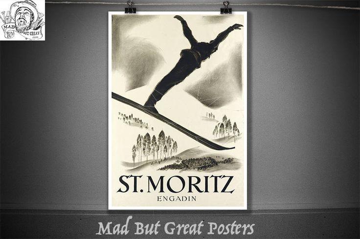 St.  Moritz - Engadin - Carl Moos - 1926, vintage, poster, ski wall art, ski gifts, retro poster, ski poster, ski decor, ski art, ski print by MadButGreatPosters on Etsy