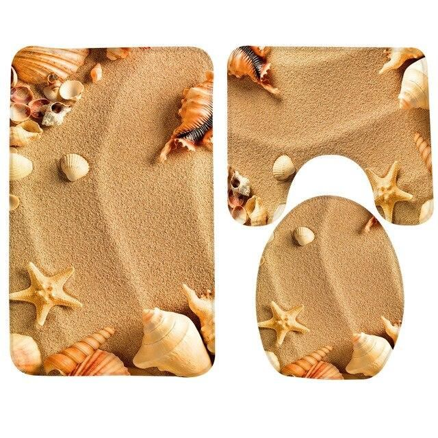 Starfish Sea Shell Bathroom Carpet Rug Non-Slip 3 Pcs Beach Bath Foot Mat Set