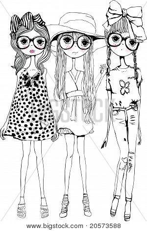 fashion illustration sketch girls