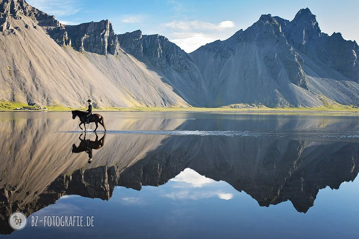 Lonesome ride in the morning light, and a perfect reflexion with one of Iceland's most beautiful mountain views in the background  #Iceland #horse #rider #scenic