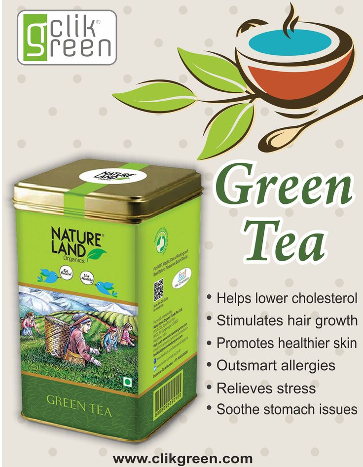 Benefit of Green Tea:  1. Helps lower cholesterol.  2. Stimulates hair growth.  3. Promotes healthier skin.  4. Outsmart allergies.  5. Relieves stress.  6. Soothe stomach issues.  #clikgreen #Organicfood #greentea #organidrink #healthydrink