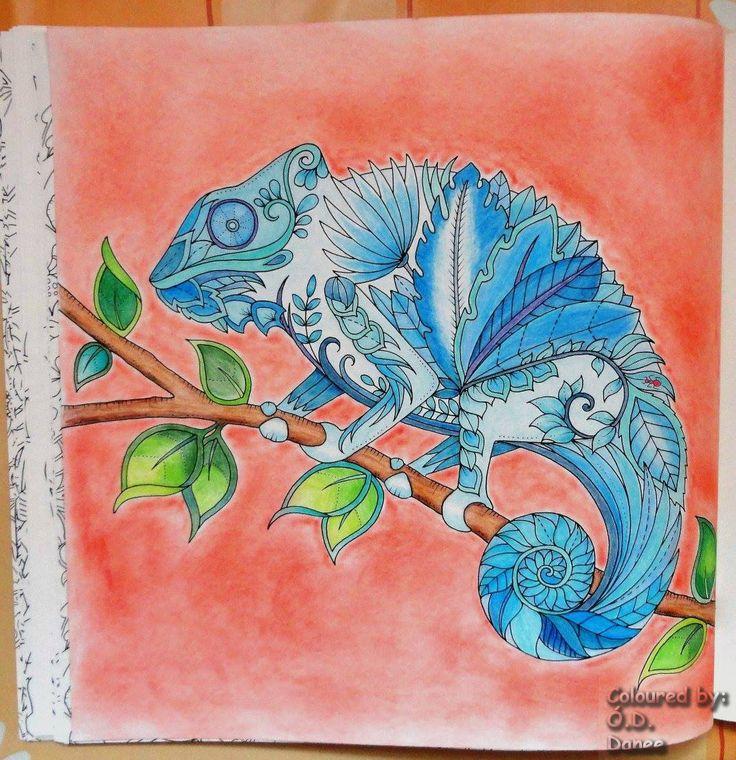 Mágikus Dzsungel - Kaméleon  Készült: Aihao ceruzák Háttér: Colorino Artist Porpasztell  Magical Jungle - Chameleon  Coloured  with Aihao pencils  Background: Colorino Artist Soft Pastels