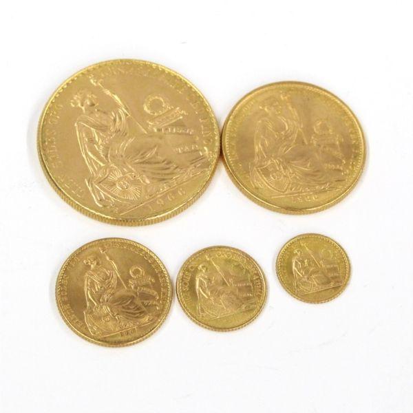 【中古】希少 ペルー金貨 1966 女神坐像 100ソル金貨 5枚セット/表面に女神の坐像、裏面に国の紋章とデザインが美しくコイン自体も分厚く重量感を有しています。/新品同様・極美品・美品の中古ブランド時計を格安で提供いたします。