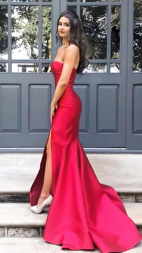 cf77763337 Mermaid Red Strapless Long Prom Dress with Slit in 2019