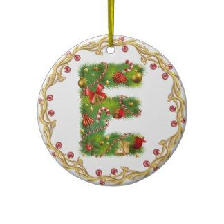 initial E monogrammed christmas ornament - circle
