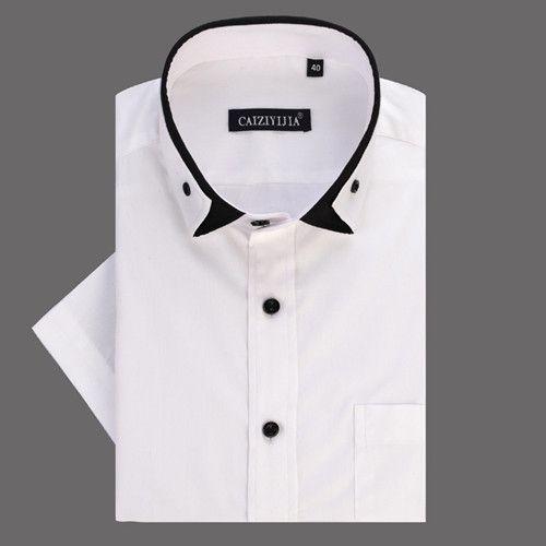 Summer Men's Unique Double-collar Short Sleeve Dress Shirts White-Solid Slim-fit Comfort Soft Cotton Shirt