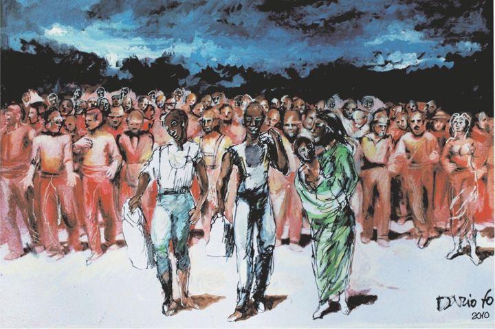 Migranti in un disegno di Dario Fo.