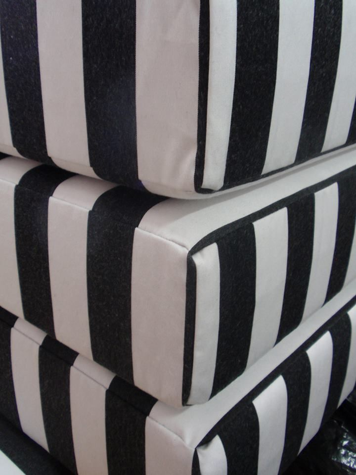 Outdoor Cushions Upholstered In Sunbrella Yacht Fabric In Black And White  Stripe. #garden Seating