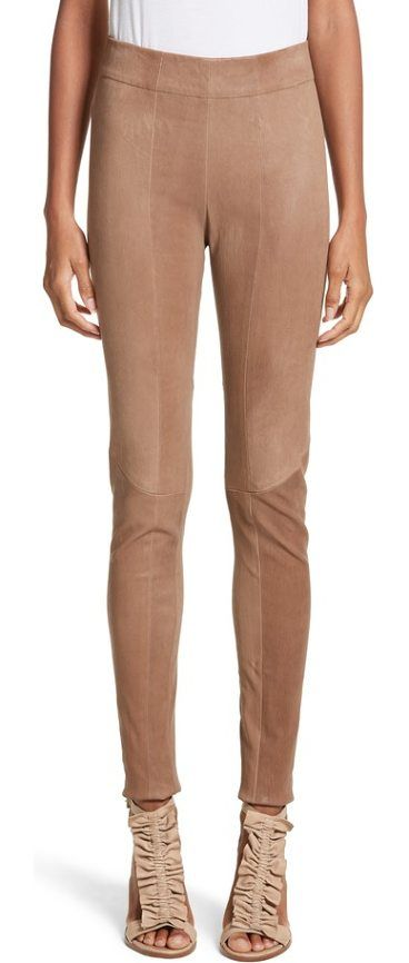 lambskin leather skinny pants by Zero + Maria Cornejo. Front and back seams accentuate the figure-hugging fit of elastic-waist leggings crafted from vegetable-tanned French stretch leather. Style Name: Zero + Maria Cornejo Lambskin Leather Skinny Pants. Style Number: 5467914. Available in st... #zeromariacornejo #pants