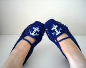 Sailor Home Slippers Anchor Sea - Navy Blue And White Slippers Winter Washion Hand Embroidered Crochet Slippers