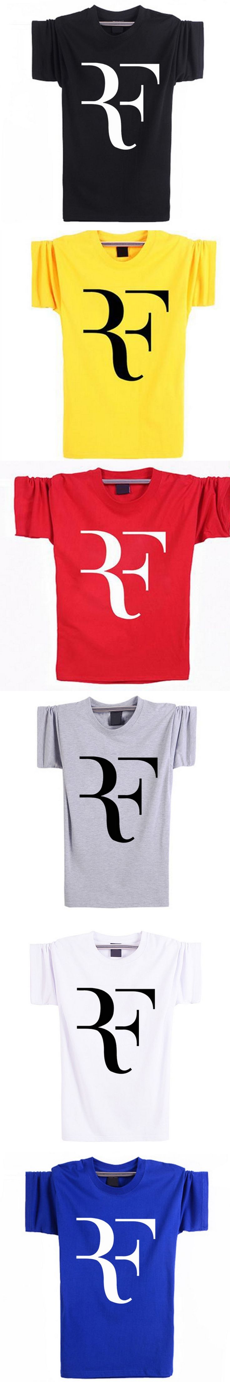 Roger Federer T Shirt Men Fashion T-Shirts Star RF T Shirts Cotton Short Sleeve Tee Shirt Homme Brand Clothing