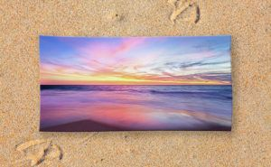 Aussie Sunset, Claytons Beach Beach Towel design by Dave Catley featuring a…