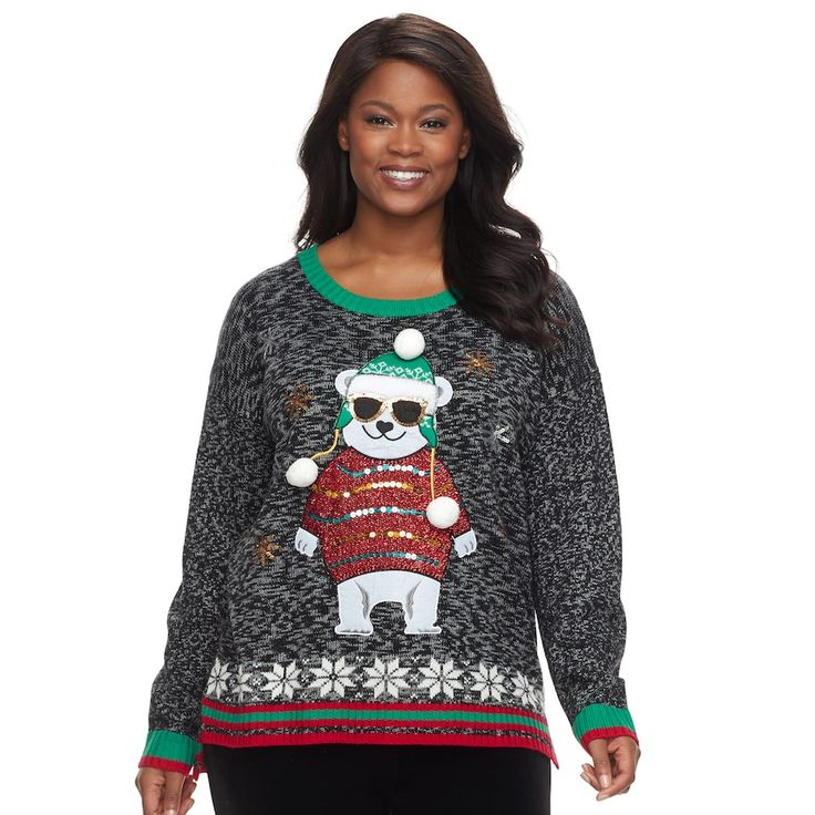 Plus Size Fashion Avenue US Sweaters Applique Ugly Christmas Sweater, Multicolor
