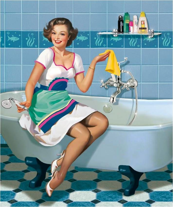 PIN UPS.This is how I look while cleaning the Bath Tub,no one ever said...