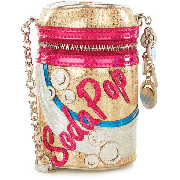 Accessorize Soda Can Novelty Bag ($54) ❤ liked on Polyvore featuring bags, handbags, shoulder bags, silver shoulder bag, pink shoulder bag, hologram purse, gold metallic handbags and gold metallic purse