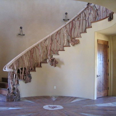tree branch banisters   tree branch style staircase with Red Shank wood,  custom fabricated log
