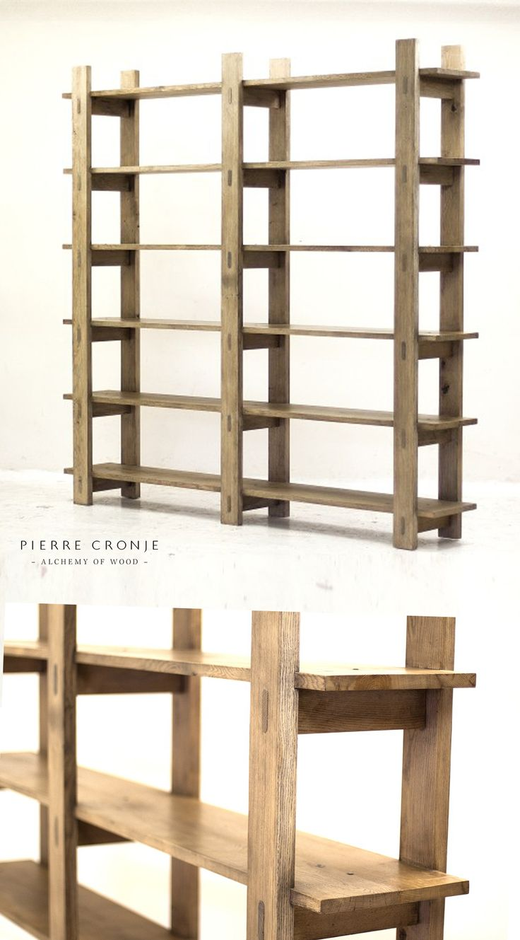 A Pierre Cronje Loft Bookcase in French Oak with a blackwash finish.