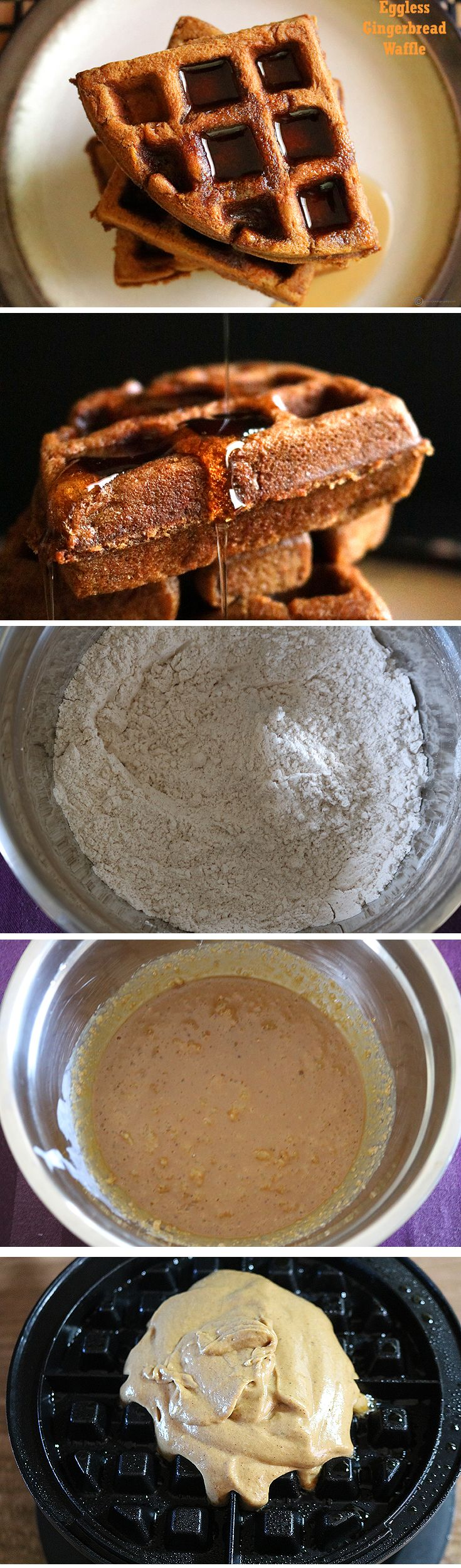 An easy eggless gingerbread waffle perfect for the holiday breakfast. It feels like having a delicious cake, but for breakfast.