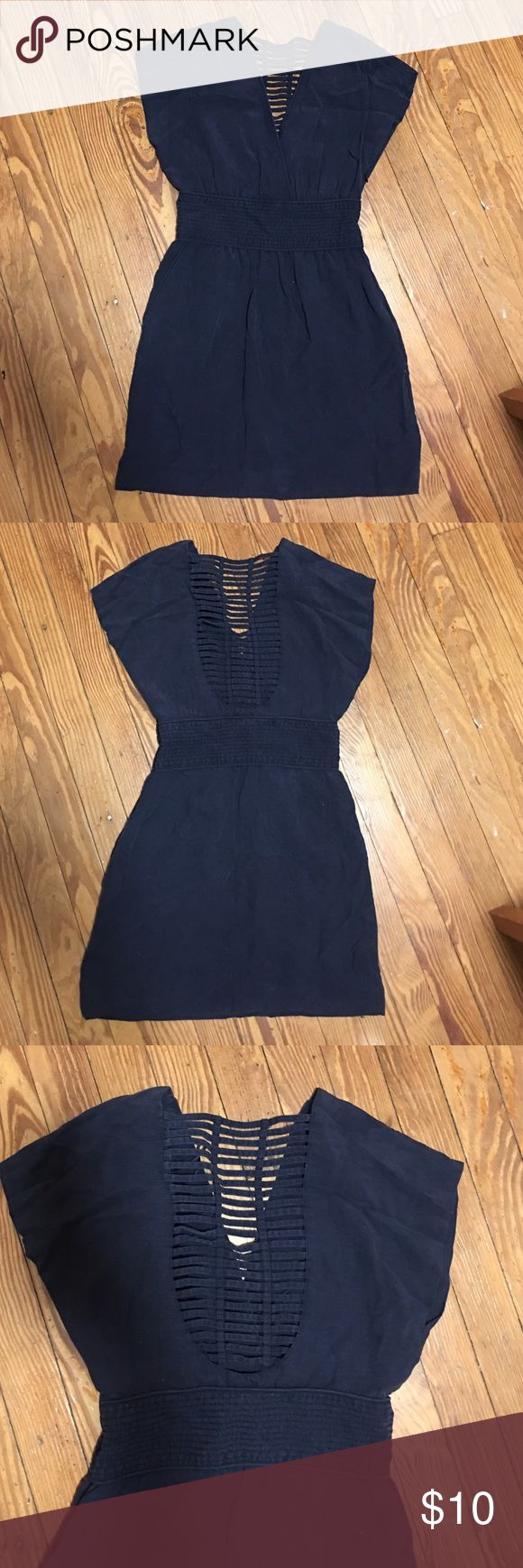 Mango collection Navy blue Summer Dress This navy blue summer dress from Mango Collection has cut outs in the back, which is sure to keep you cool.  Slightly faded for a laidback look, this dress is sure to get you noticed. Mango Dresses Midi