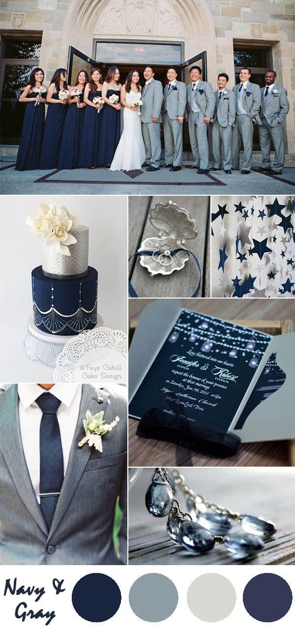 Navy Blue And Gray Wedding Color Ideas Pocket Invitations