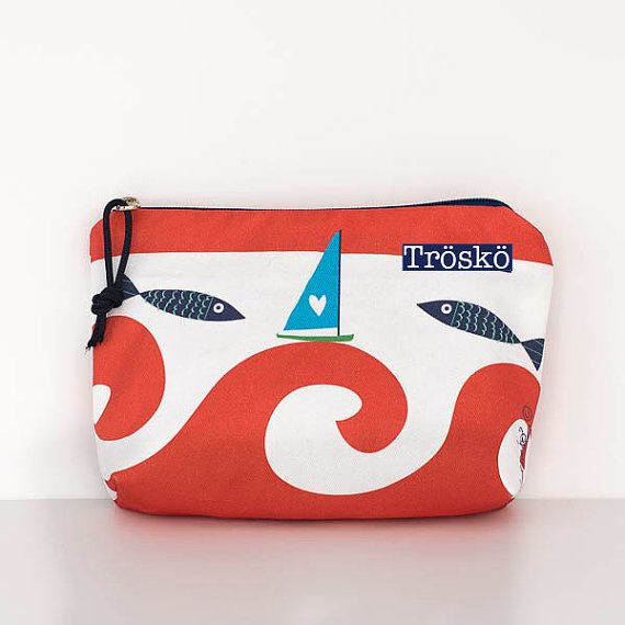 Zippered pouch Wild Waves in red cute print by by TroskoDesign