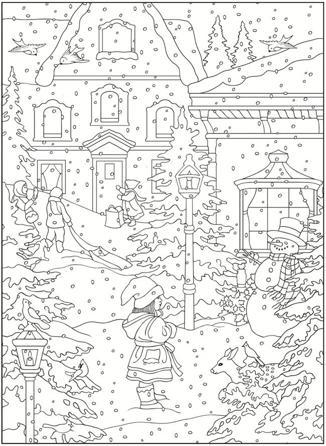 winter scene coloring page from dover publications
