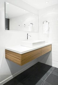 Do we need to bring in the warmth of wood to a white & grey bathroom...?