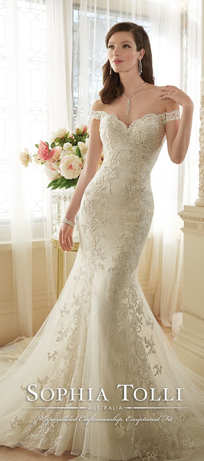 wedding dresses for spring wedding dress mermaid Sophia Tolli Off Shoulder Lace Mermaid Wedding Dress for Spring