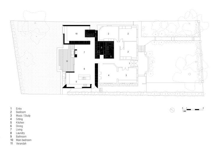 Skylight House by Andrew Burges Architects. Floor Plan.