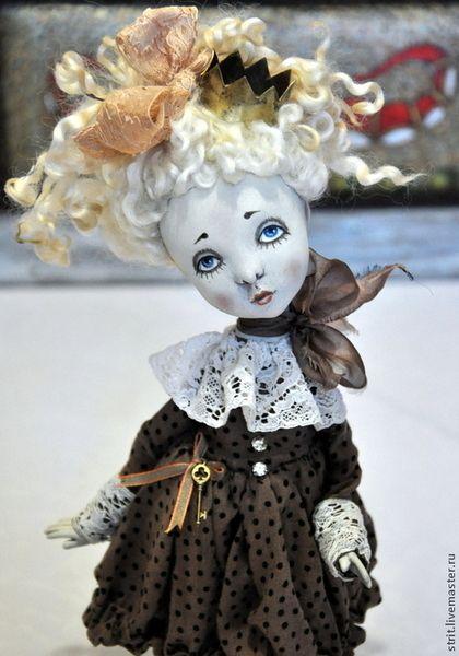 """Авторская кукла """"Облачко"""" - бежевый,авторская кукла,в горошек,darwi roc"""