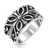 Four Seasons – Detailed Black Silver Carved Floral Design Stainless Steel Band