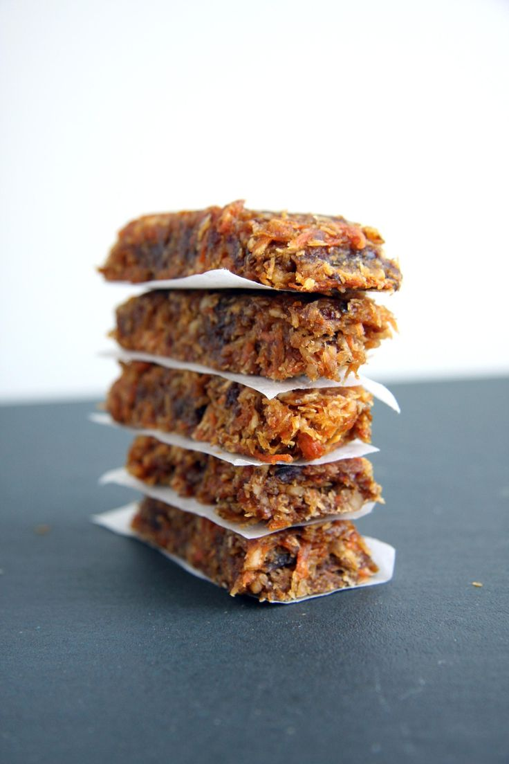 Orange Carrot Cake Bars -   10 dates 1 cup walnuts ¼ cup raisins 1 carrot, grated 1 zest of orange ¾ cup unsweetened shredded coconut ¼ cup + 3tbsp agave #vegan