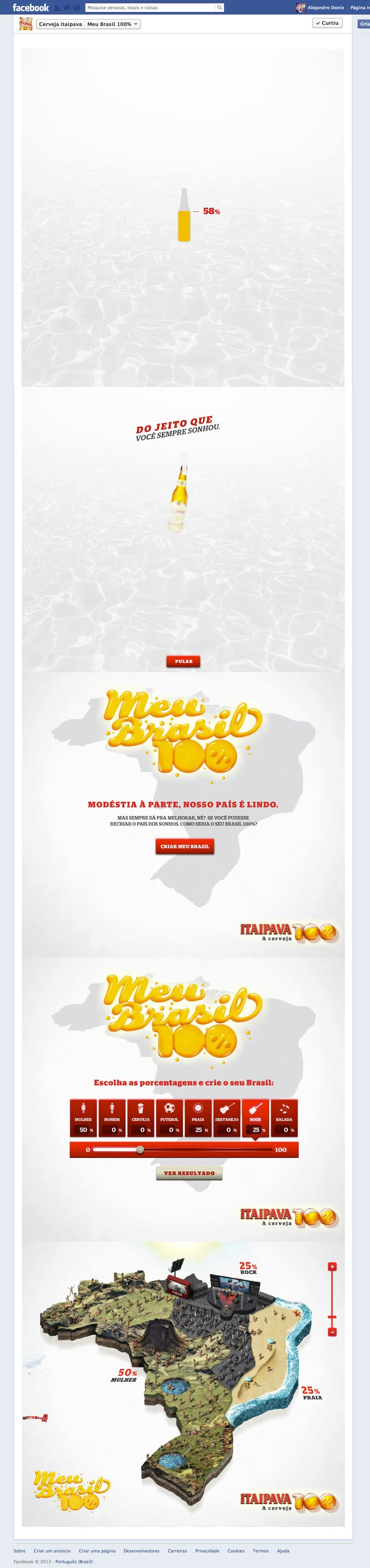 #itaipava #youngrubicam #artdirection #design #facebooktab #beer #100% #brazil #layout #interface #ui #ux #photoshop #manipulation #infographic #gray