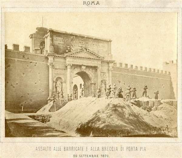 1870 Altobelli Gioacchino . Breccia di porta Pia, ricostruzione postuma della presa di Roma.