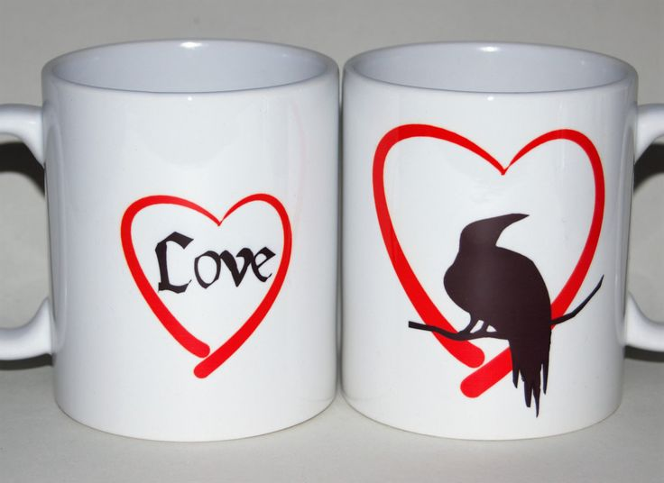 Valentine's Day LOVE heart raven mug customised to order by TotalMug gift for her by TotalMug on Etsy