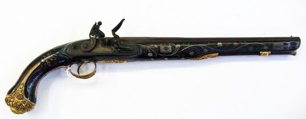 "Late 18th century flintlock pistol, the barrel stamped ""W.Parker"" Maker to His Majesty, Holborn, London"", the pistol is decorated with silver flowerhead and scroll inlay and cast brass mounts, the side lock engraved ""W.Parker"", 54cm long overall Estimate £1,500.00 to £2,000.00 (Lot no: 338 in sale on 21/10/2014) The Cotswold Auction Company"
