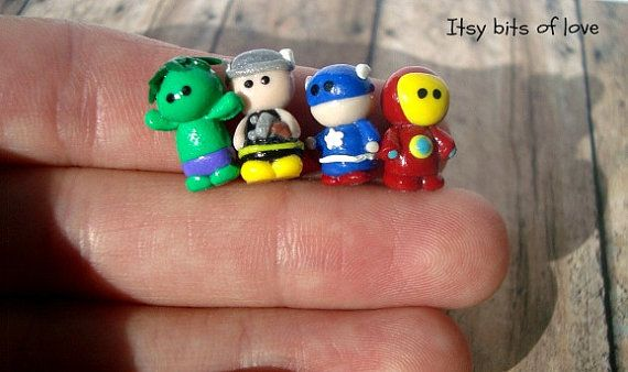 Mini Micro Avengers   Tiny Clay Avengers  by itsybitsoflove TIny collection  mini collectables mini knicknacks for my littles!