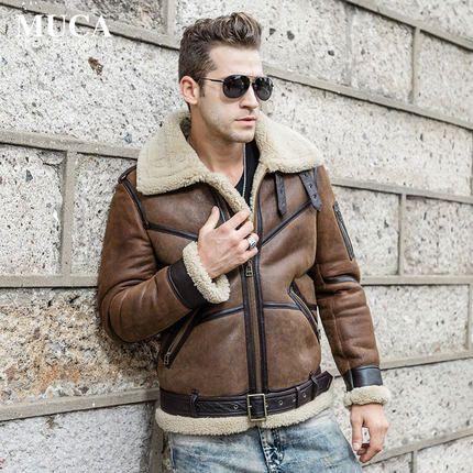 Günstige Air Force Flight Suit herren Pelz Einem Jacke B3 Doppelseitigen Pelz männer Lederjacke Revers Dicken kurze Jacke Halten WZS2016002, Kaufe Qualität Echtes Leder Mäntel direkt vom China-Lieferanten:
