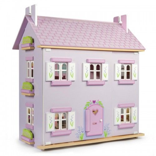 Home Sweet Home... 	A fully painted and decorated wooden three storey lavender & lilac doll's house with stylish motif. 	The doll house includes a staircase plus opening/closing windows, shutters and doors. 	Dolls and furniture are sold seperately.