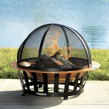 Copper fire pit with 34'' Safety Sparkguard from Frontgate