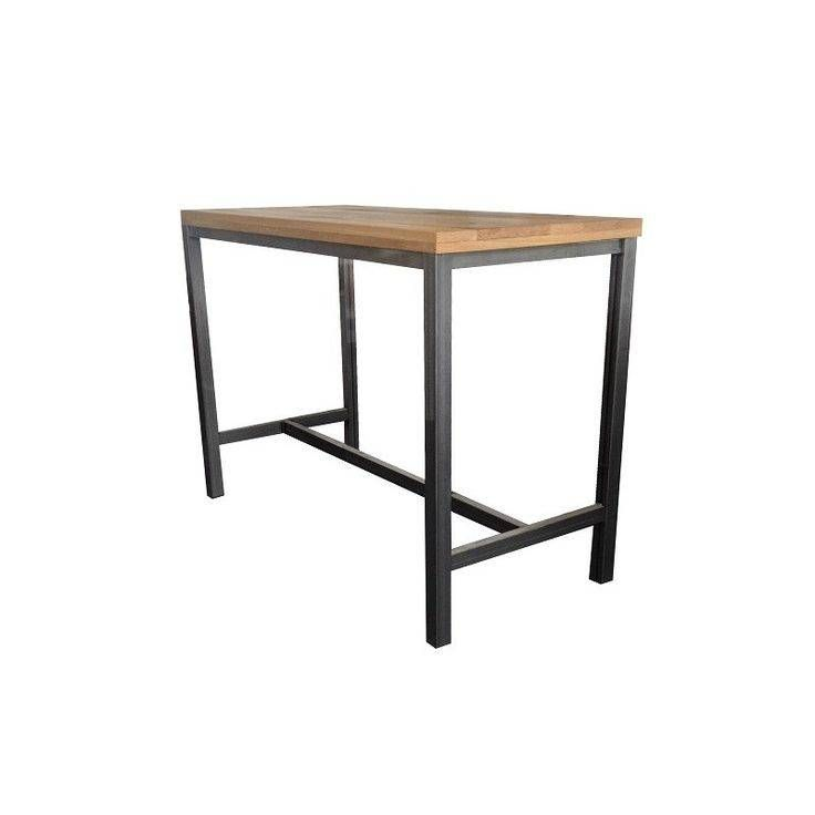 Robuuste industriele steigerhouten bartafel met een stalen onderstel. Model Schoorl. Kwaliteit en design. Bestel nu, betaal achteraf. Gratis levering..