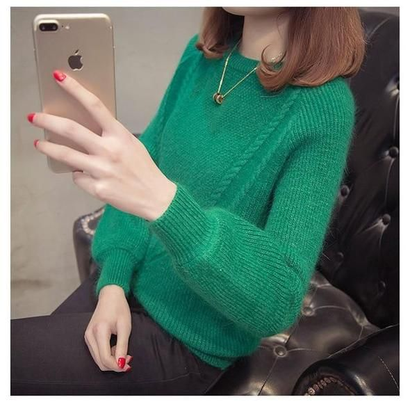 Knitted sweater Women autumn winter Plus size Candy colors pullover sweaters femaleuotelab