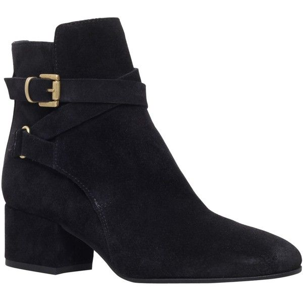 Carvela Spartan Block Heeled Ankle Boots , Black Suede (€210) ❤ liked on Polyvore featuring shoes, boots, ankle booties, black suede, black bootie, black suede ankle booties, flat ankle boots, short black boots and black ankle booties