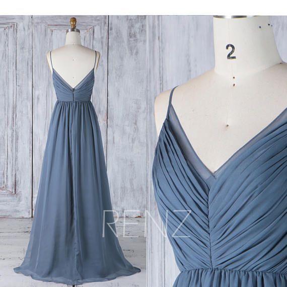 Bridesmaid Dress Dark Blue Chiffon Dress Wedding Dress Spaghetti Strap Prom Dress Ruched V Neck Maxi Dress A Line Party Dress (H505A)