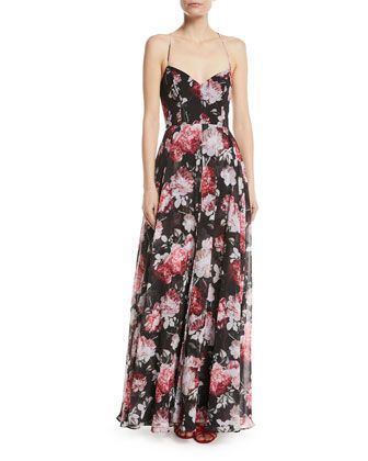 The+Khoo+Sleeveless+Floral+Bustier+Gown+with+Lace-Up+Back+by+Fame+and+Partners+at+Neiman+Marcus.