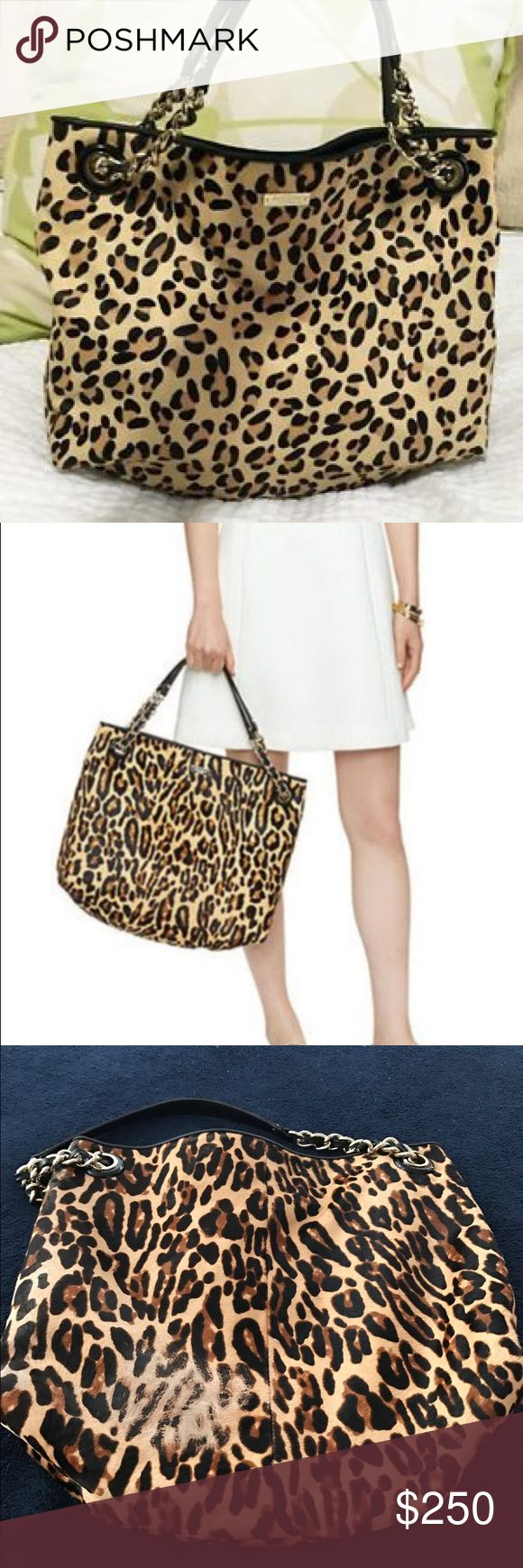"""Kate spade ♠️ New York streetcar darya Kate Spade ♠️ streetcar darya tote! Leopard calfhair. Large leopard calfhair shoulder bag with black cowhide trim 14-karat gold plated hardware magnetic snap closure dual leather and chain link handles with 7.1"""" drop. Light gold kate spade New York plate. Kate spade interior lining with one zip pocket and 2 multifunction slip pockets. Approx 15"""" (L) x 13.4"""" (H) x 5.1"""" (D) color leopard. Please note back side of tote had some calf hair rubbed off. This…"""